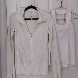 Size 6 Lululemon white top and jacket